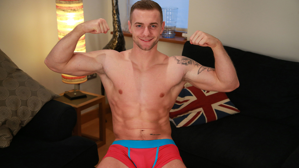 Young Muscular Man Thomas Shows his Perfect Body & Rock Solid Uncut Large Cock!
