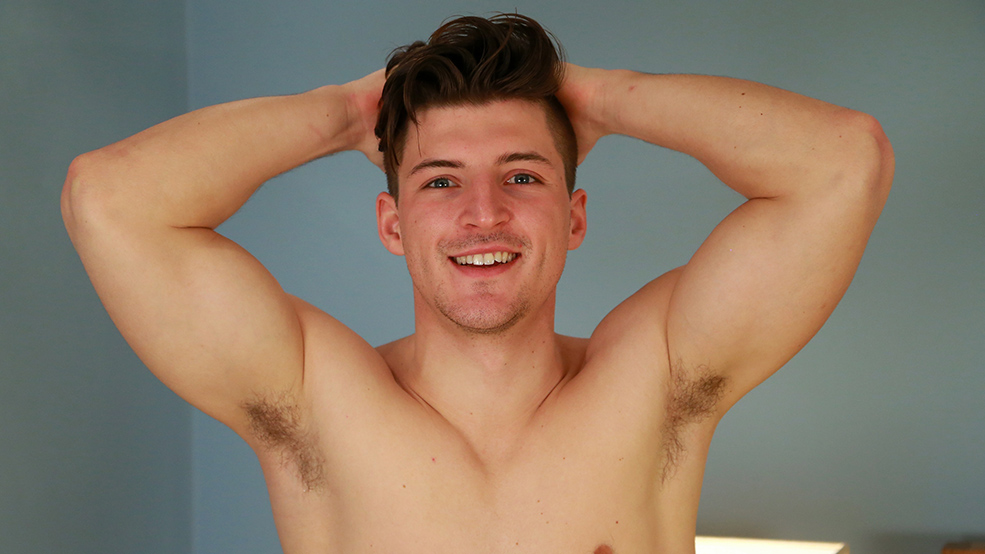 Young Rugby Player Jasper Shows off his Muscled & Ripped Body & Very Hard Uncut Cock!